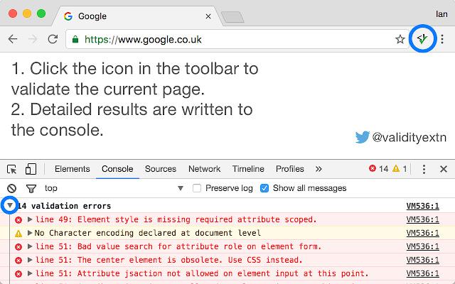 extensii de browser Validity